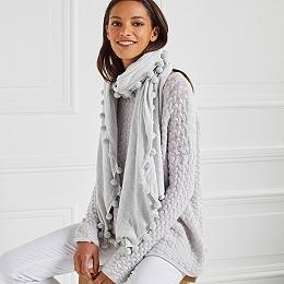 Sparkle Pom-Pom Knitted Scarf