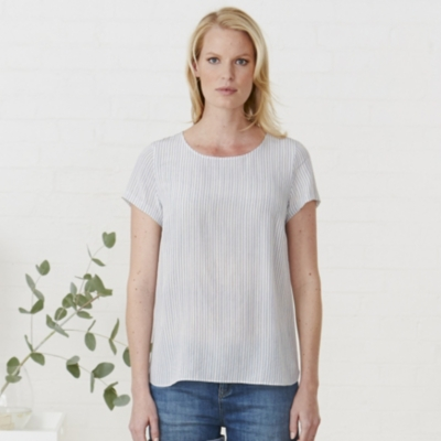 Stripe Silk T-Shirt