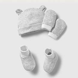 Stripe Hat, Mitt & Bootie Set