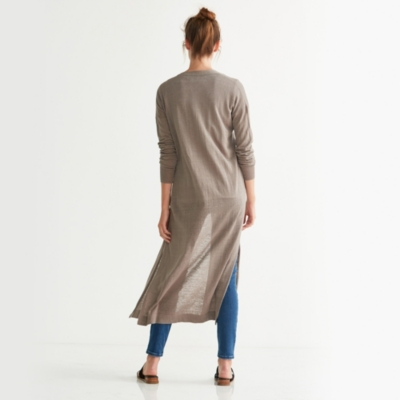 Linen Blend Side Split Cardigan