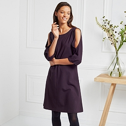 Split Sleeve Swing Dress - Blackberry