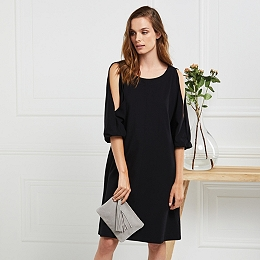 Split Sleeve Swing Dress - Black