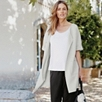 Short Sleeve Long Cardigan - Silver Gray Marl