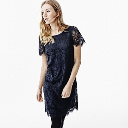 Short Sleeve Lace Dress - Navy