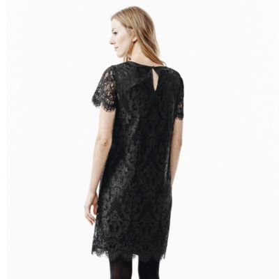 Short Sleeve Lace Dress - Black