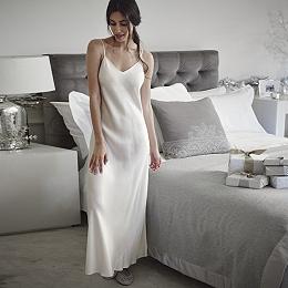 Long Silk Night Gown - Porcelain