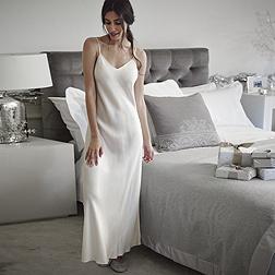 Long Silk Nightie - Porcelain