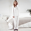 Sateen Stripe Pajama Set - White