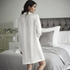 Piped Silk Nightshirt - Porcelain