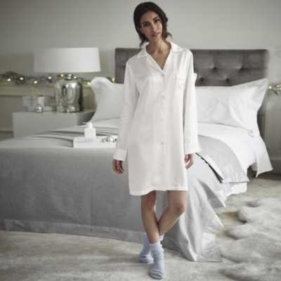 Silk Piped Nightshirt  - Porcelain