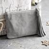 Small Suede Tassel Clutch - Dove Gray