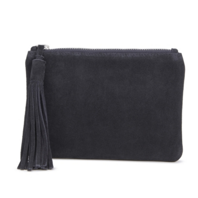Small Suede Tassel Clutch - Dark Navy