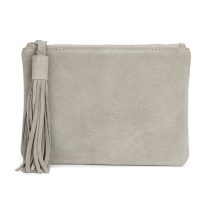 Small Suede Tassel Clutch - Dove Gray