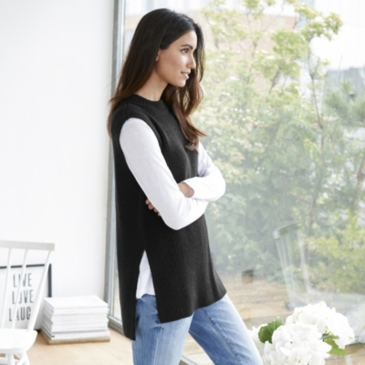 Side Split Sleeveless Sweater
