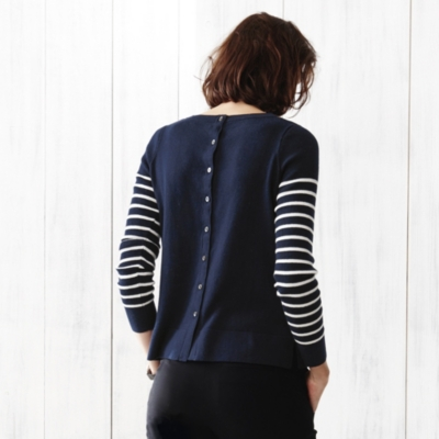 Stripe Button Back Sweater - Navy/White