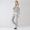 Stripe Button Back Sweater - Gray Stripe