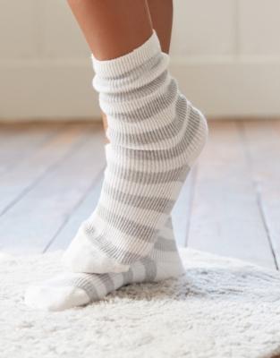 Cashmere Stripe Bed Socks