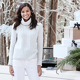 Roll-Neck Cable Sweater