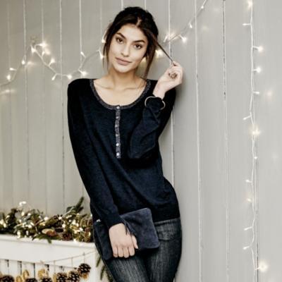 Sparkle Trim Henley Sweater