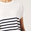 Stripe Hem Knitted T-Shirt - White