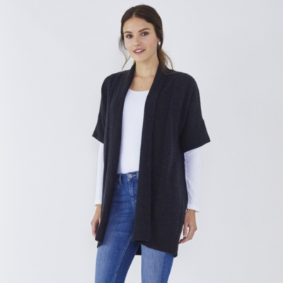 Stitch Detail Short Sleeve Cardigan  - Dark Charcoal Marl