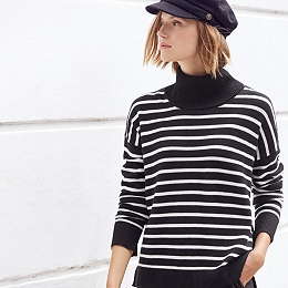 Stripe Roll-Neck Jumper with Cashmere