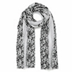 Stripe Floral Scarf - Gray