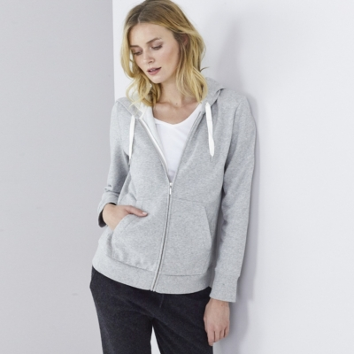 Silk Trim Cotton  Zip Hoodie  - SilverGrayMarl