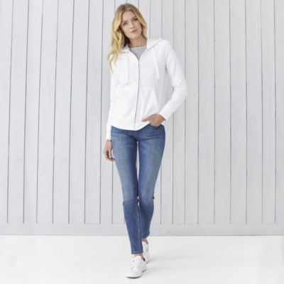 Silk Trim Cotton  Zip Hoodie  - Ivory