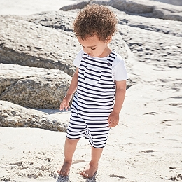 Jersey Striped Dungarees & Bodysuit Set