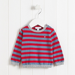 Star Embroidered Striped Sweater