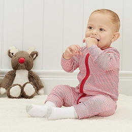 Stripe Zip Up Baby Sleepsuit