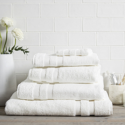Classic Double Border Towels - White