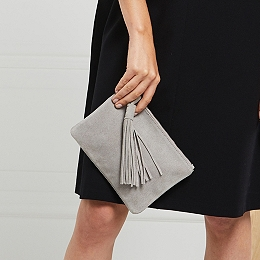 Suede Tassel Clutch Bag