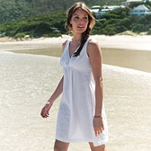 Buy Pleat Bodice Linen Dress - White from The White Company