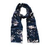 Buy Floral Cutout Print Scarf - Blue from The White Company