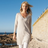 Buy Sparkle Side Slit Tunic - Natural from The White Company