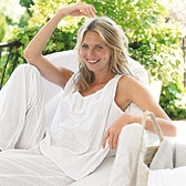 Buy Lace Broderie Dotty Pyjama Top - White from The White Company