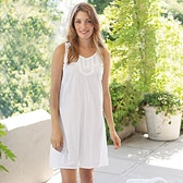 Buy Lace Broderie Dotty Nightdress - White from The White Company