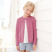 Buy Girls' Cotton Linen Rib Cardigan - Rose from The White Company
