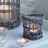 Wicker Glass Lantern - Small