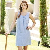 Buy Pleat Button Linen Dress - Indigo Marl from The White Company