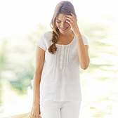 Buy Ladder Stitch Linen Blouse - White from The White Company