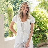 Buy Stripe Cotton Pyjama Top - Grey Stripe from The White Company