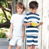 Buy Striped Short Sleeve Pyjamas - 2 Pack from The White Company