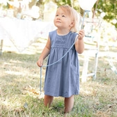 Buy Baby Blue Twist Detail Dress & Knickers from The White Company