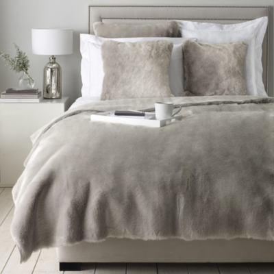 Supreme Faux Fur Throw & Cushion Covers - Silver
