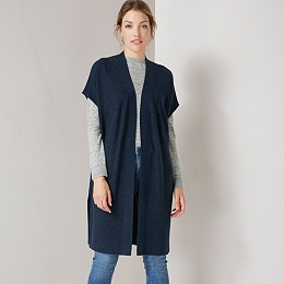 Sleeveless Side Split Long Cardigan