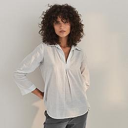 Cotton Stripe V-Neck Shirt