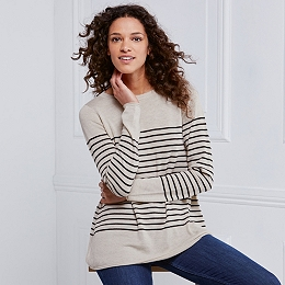 Stripe Swing Sweater - Taupe Marl